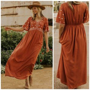 Roolee Boho Embroidered Long Flowy Maxi Dress S